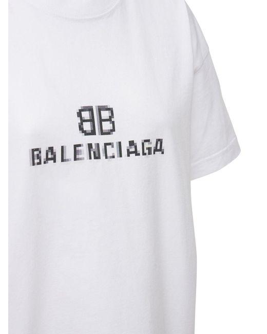 Футболка Из Хлопкового Джерси С Принтом Balenciaga, цвет: White