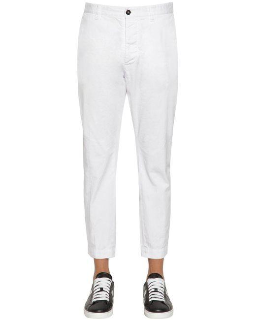 メンズ DSquared² Hockney Fitコットンツイルパンツ 16.5cm White