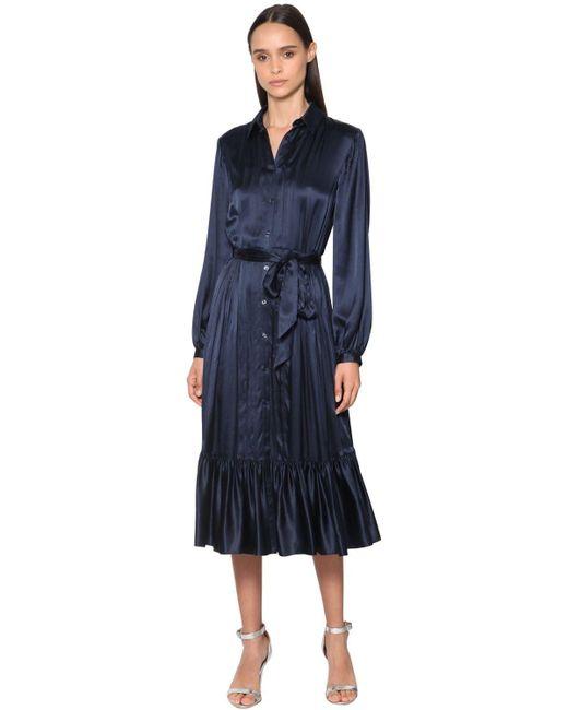 Temperley London サテンシャツドレス Blue