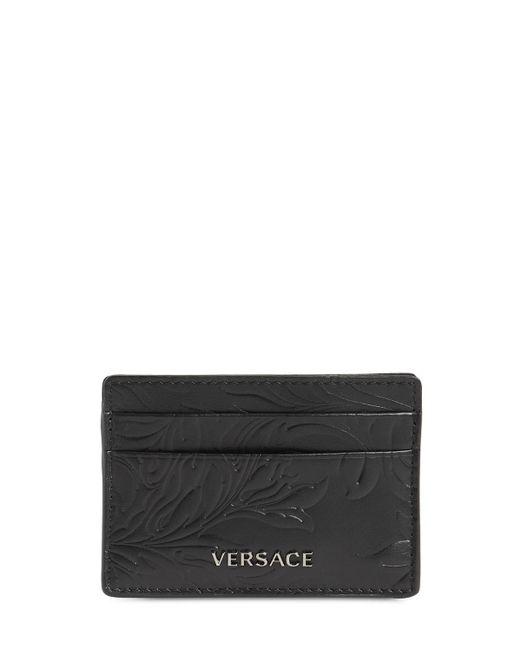 メンズ Versace Baroque レザーカードホルダー Black