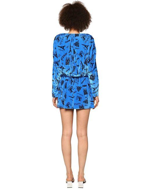 Balenciaga ストレッチベルベットミニロンパース Blue