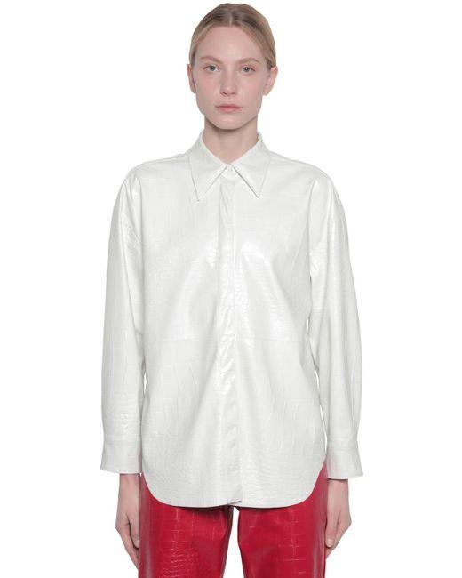 MSGM クロコダイル柄エンボス フェイクレザーシャツ White