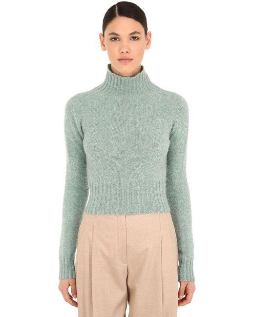 Victoria Beckham クロップドウールセーター Blue