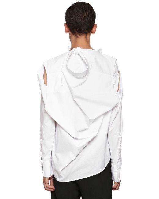 メンズ BMUET(TE) コットン ロゴ刺繍 ツーウェイシャツ White