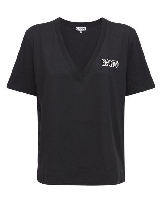 Ganni リサイクルコットンブレンドtシャツ Black