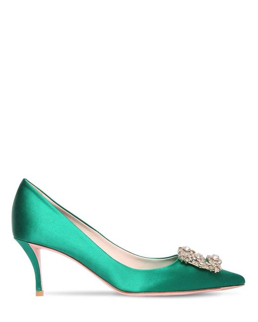 Roger Vivier Green 65mm Flora Embellished Satin Pumps