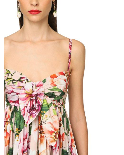 Платье Из Хлопка Поплин С Принтом Dolce & Gabbana, цвет: Pink