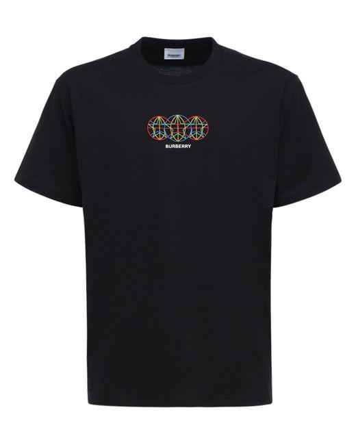 Футболка Из Хлопкового Джерси Burberry для него, цвет: Black