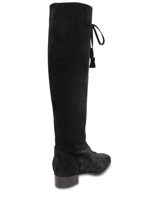 Alberta Ferretti スエードオーバーニーブーツ 30mm Black