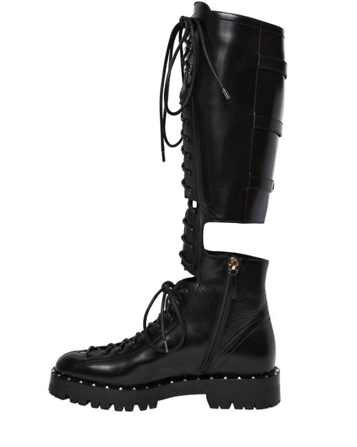 Valentino 30MM SOUL ROCKSTUD CUTOUT LEATHER BOOTS 3dXa97a