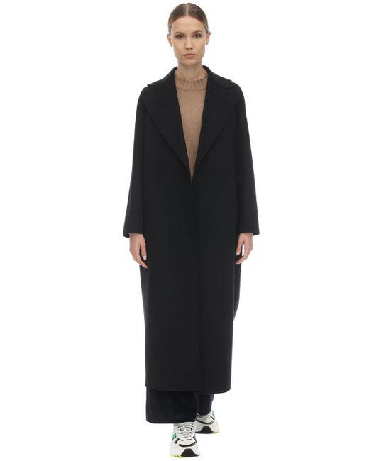 Abrigo De Lana Virgen Con Cinturón Max Mara de color Black