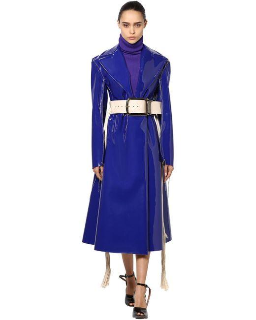 Пальто Из Искусственной Лакированной Кожи Marni, цвет: Blue