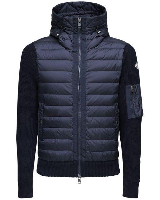 Куртка На Пуху Из Шерстяного Трикотажа Moncler для него, цвет: Blue