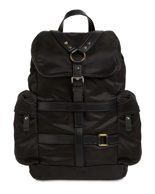 Versace Black Nylon & Leather Backpack for men