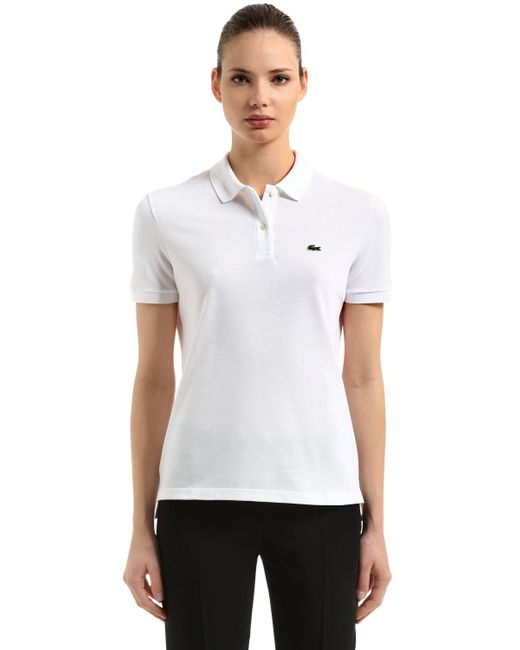 Lacoste - White Short Sleeve Two-button Classic Fit Pique Polo (navy Blue) Women's Clothing - Lyst
