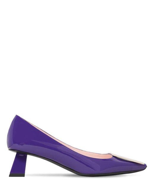 Туфли Из Лакированной Кожи 45мм Roger Vivier, цвет: Purple