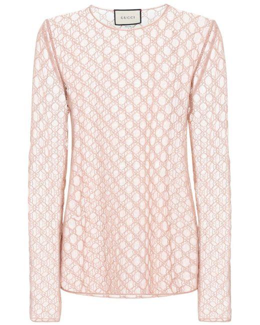 Блуза Из Тюля С Вышивкой Gucci, цвет: Pink