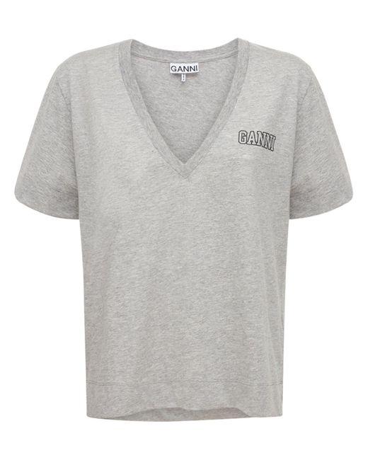 Ganni リサイクルコットンブレンドtシャツ Gray