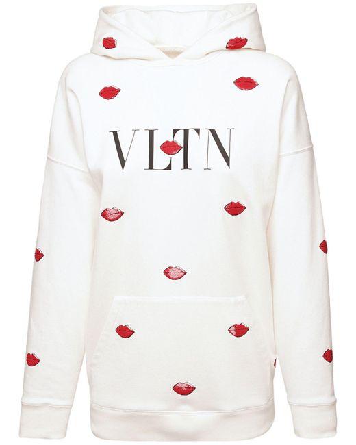 Valentino Vltn コットンジャージーフーディー White