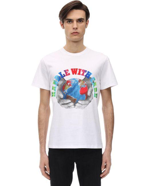 メンズ Stella McCartney Handle With Care コットンtシャツ White