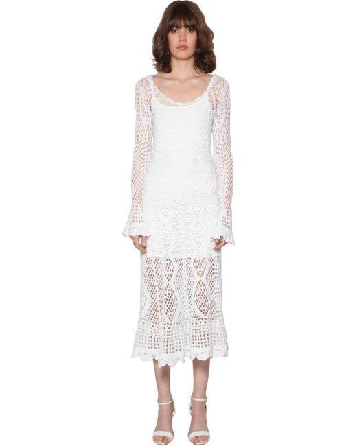 Robe Midi En Crochet De Coton Polo Ralph Lauren en coloris White
