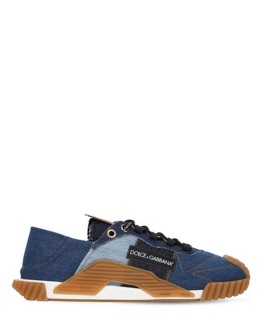 Кроссовки Из Деним Ns1 Dolce & Gabbana для него, цвет: Blue