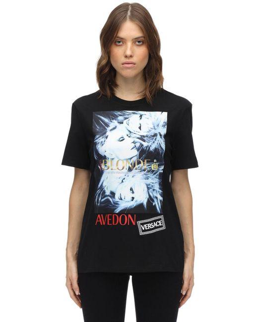 Versace プリント&刺繍 コットンtシャツ Black