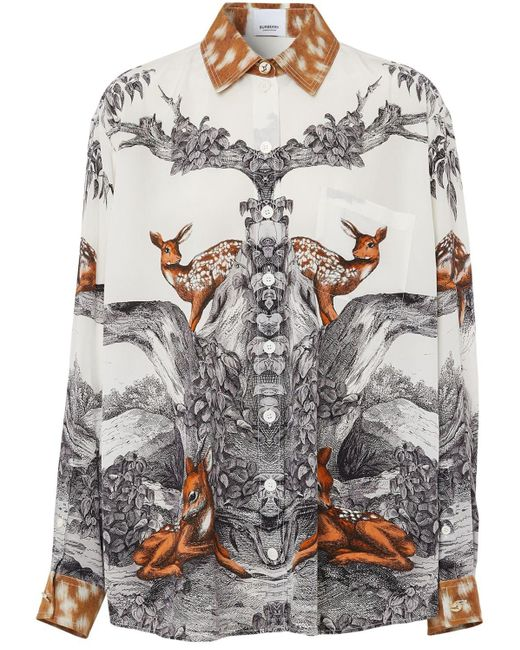 Burberry Multicolor Carlota Deer Print Silk Twill Shirt