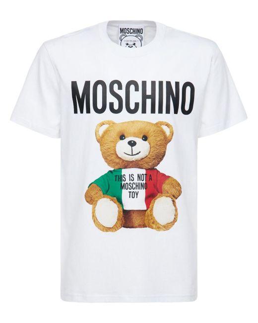 メンズ Moschino Teddy Tricolor コットンtシャツ White