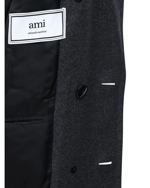 メンズ AMI ウールクロスピーコート Gray