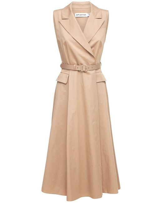 Self-Portrait Natural Tailored Cotton Poplin Midi Dress