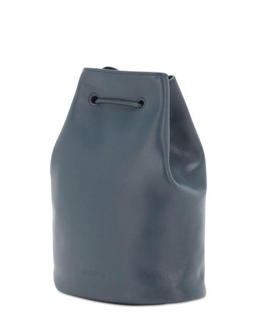 メンズ Jil Sander ドローストリングレザーバッグ Blue