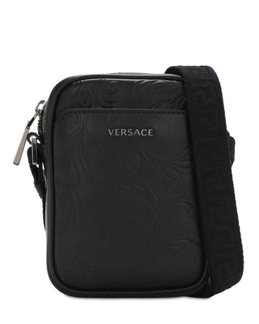Кожаная Сумка Versace для него, цвет: Black
