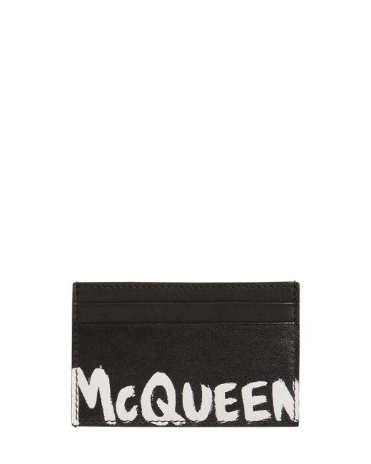 メンズ Alexander McQueen レザーカードホルダー Black