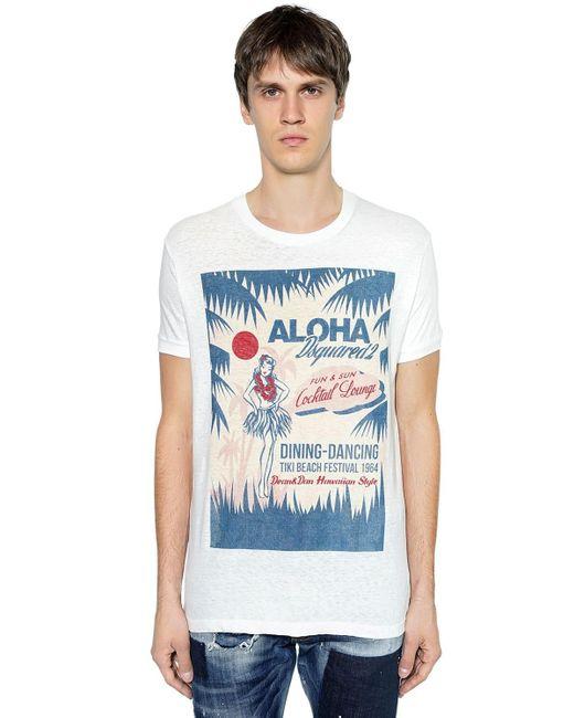 メンズ DSquared² Aloha コットンジャージーtシャツ Blue