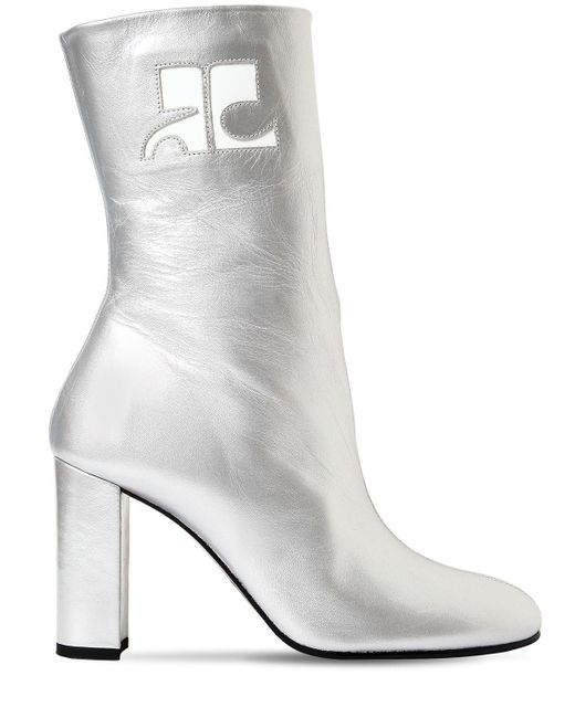 Courreges 100mm Metallic Leather Ankle Boots
