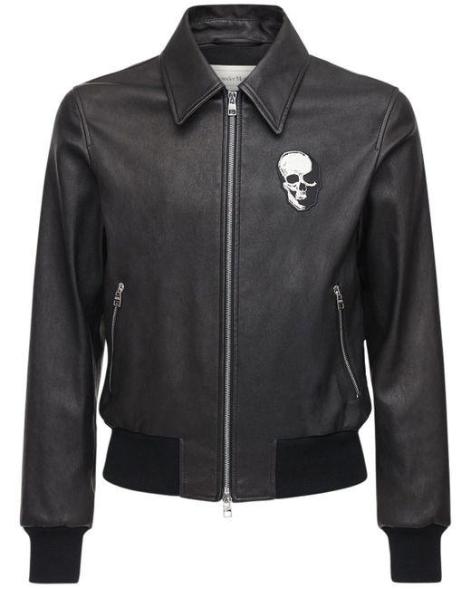 メンズ Alexander McQueen Skull レザージャケット Black