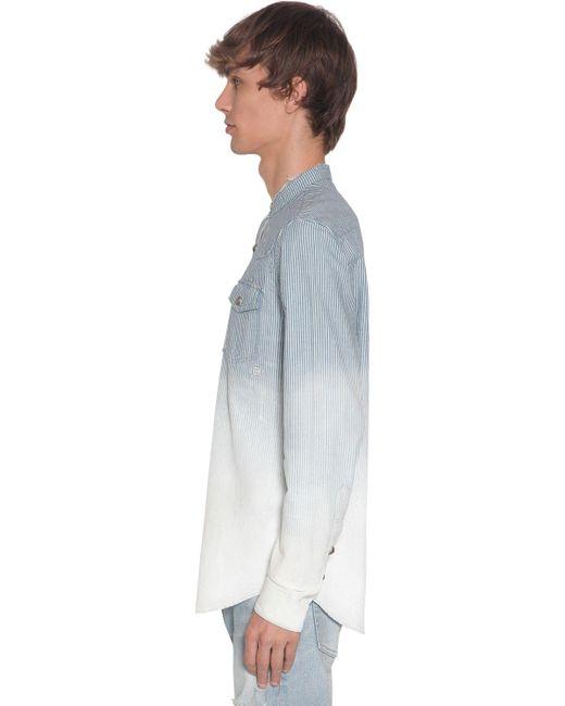 Рубашка Из Денима В Полоску Balmain для него, цвет: Blue