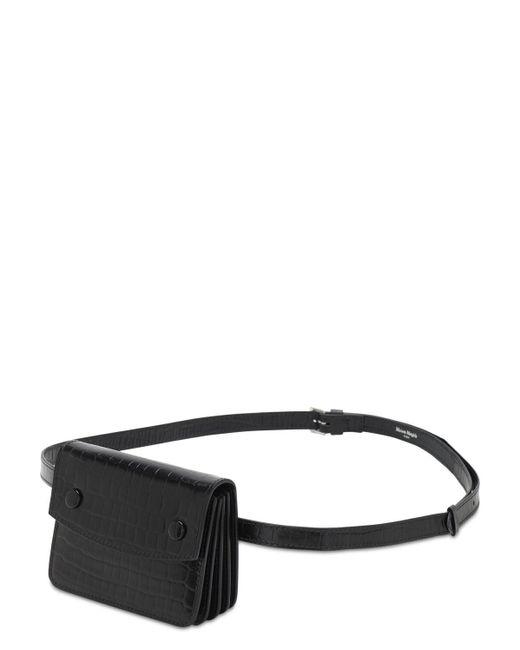 メンズ Maison Margiela クロコエンボスレザーベルトバッグ Black