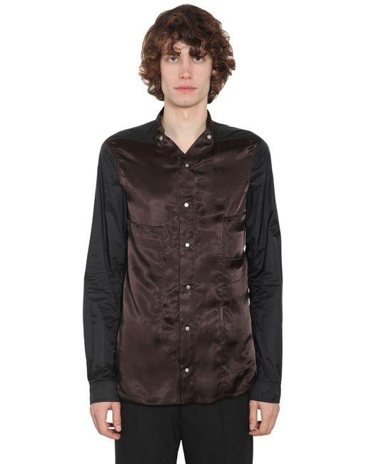 メンズ Rick Owens キュプラ&テクノシャツ Black