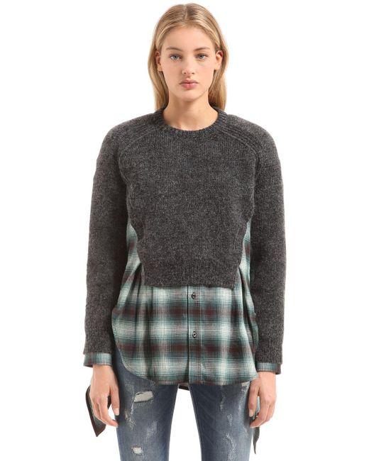 DSquared² セーター&チェックシャツ レイヤーワンピース Gray