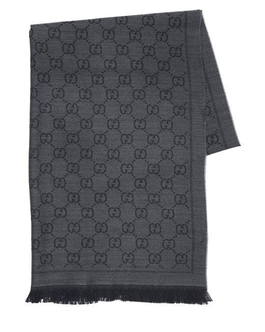 Gucci グッチ公式GGパターンウィンタースカーフグレーウールcolor_descriptionオーガニック生地 Black