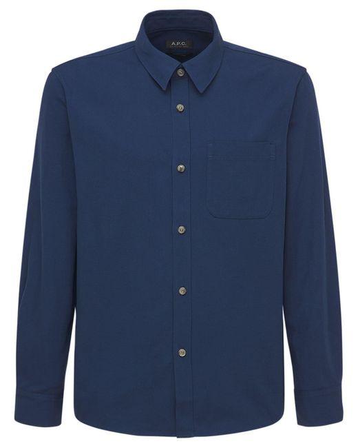 メンズ A.P.C. コットンキャンバスシャツ Blue