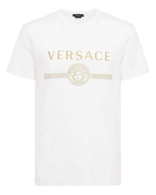 Футболка Из Хлопкового Джерси С Принтом Логотипа Versace для него, цвет: White