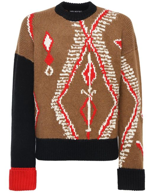 メンズ Neil Barrett ウールブレンドニットセーター Multicolor