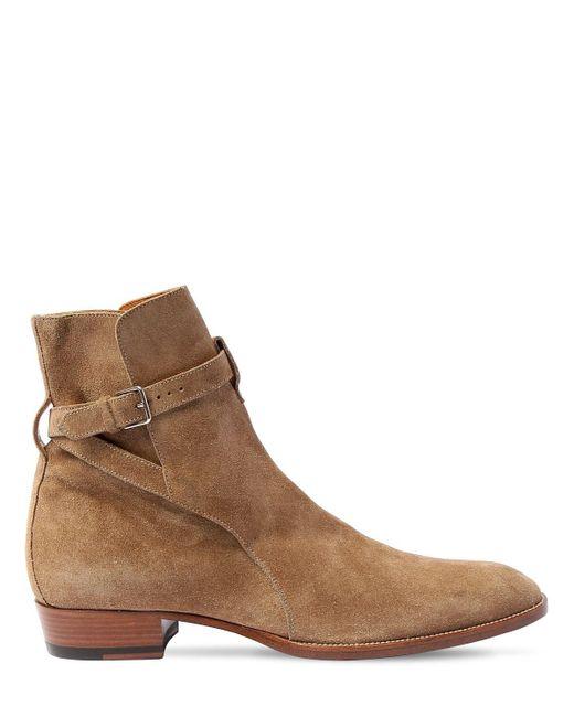 Замшевые Ботинки Wyatt 30мм Saint Laurent для него, цвет: Natural