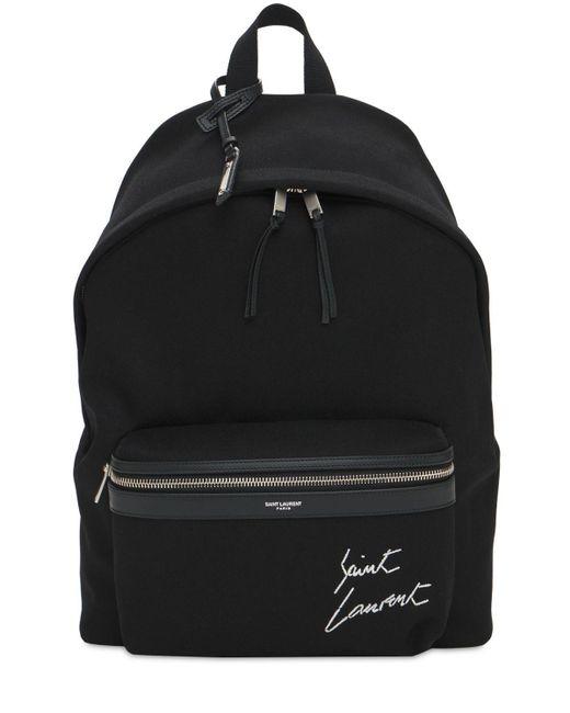 メンズ Saint Laurent コットンキャンバスバックパック Black