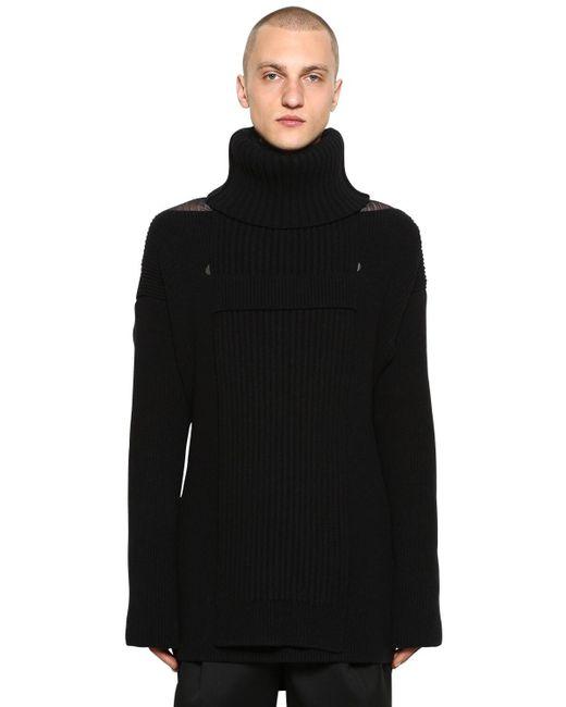 Трикотажный Свитер Из Смешанной Шерсти Bottega Veneta для него, цвет: Black