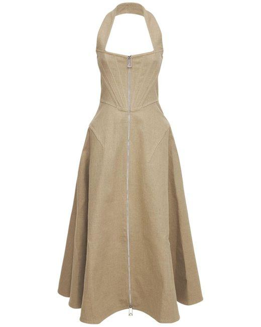 Bottega Veneta ストレッチリネンキャンバスドレス Natural