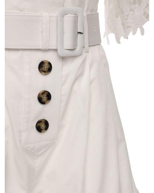 Self-Portrait オフショルダーコットンポプリンジャンプスーツ White